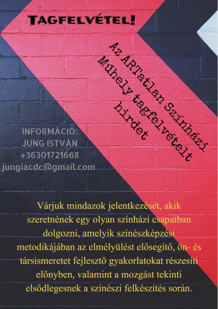 Az ARTatlan Színházi Műhely tagfelvételt hirdet